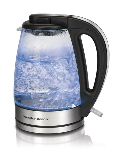 hervidora de agua eléctrica vidrio hamilton beach 1.7 litros
