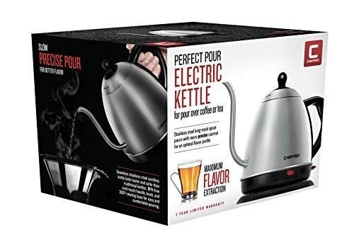 hervidora eléctrica de agua chefman, 1 litro, en acero