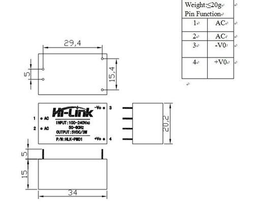 hi-link hlk-pm01, fonte encapsulada bivolt 5vdc x 600ma