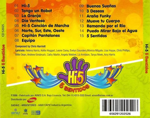 hi5 - 5 sentidos - cd infantil hi-5 (nuevo) infantil
