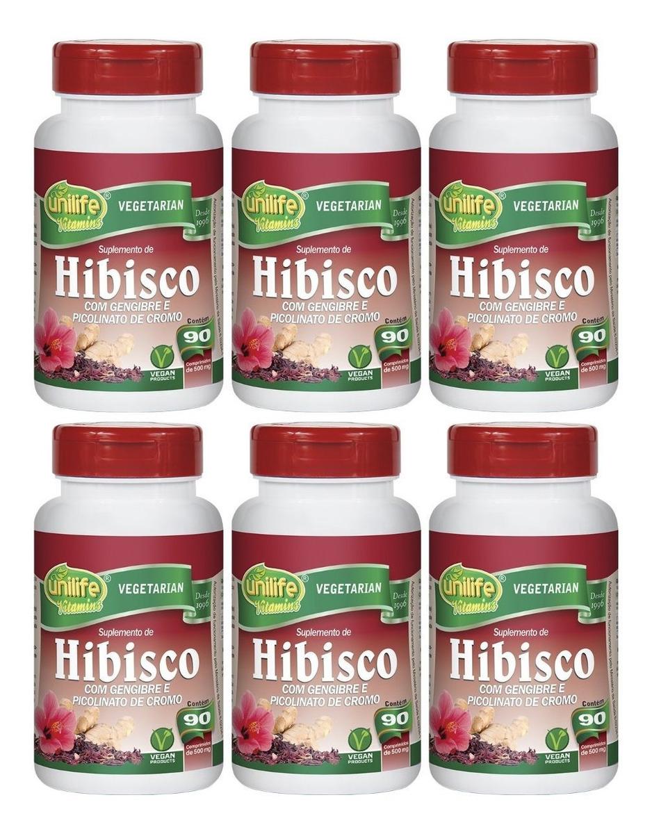 Hibisco Com Gengibre 90 Comprimidos Unilife Kit 6 Unidades