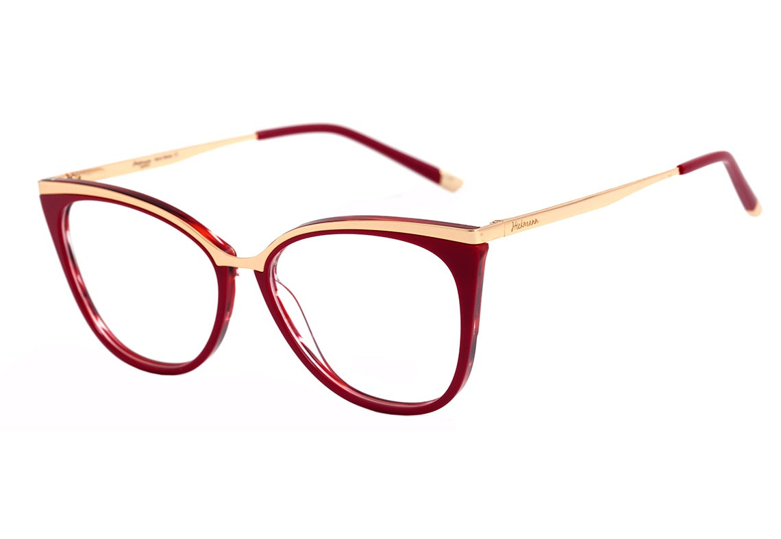 6a9ad5ee163b1 Hickmann Hi 6060 - Óculos De Grau H04 Vermelho E Dourado - R  435
