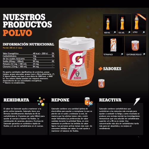 hidratante gatorade en polvo 521g bicicletería colombia