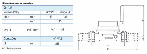 hidrômetro dn 15 mm + conexões