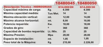 hidrogruas 1.500kg - 5.000kg - 6.300kg nuevas