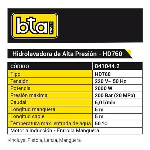 hidrolavadora bta hd 760 manguera 200 bar 5 mtrs verashop
