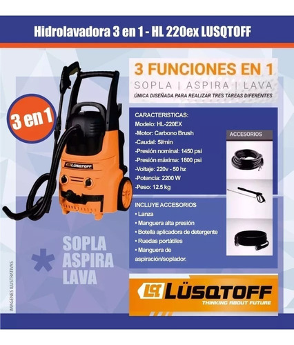 hidrolavadora hl220ex lusqtoff 3 en1 aspiradora industrial