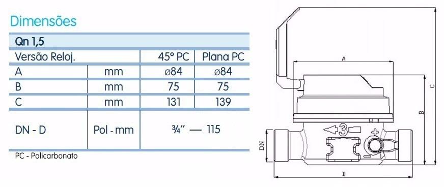 Hidrometro rel gio medir gua medidor r 60 00 em for Diametro nominal e interno ou externo