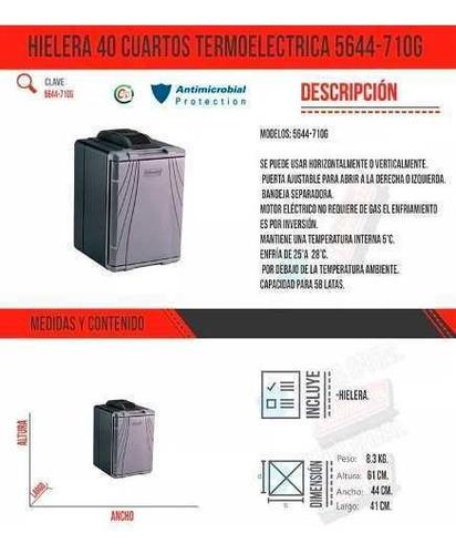 hielera 40 cuartos termoelectrica coche 12v y 120v coleman