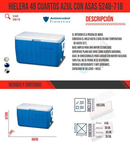 hielera 48 cuartos azul con asas 3000000152 coleman