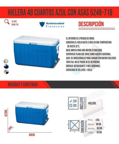 hielera 48 qt o 45 lit azul con asas tapa enfriador coleman