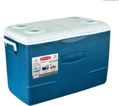 hielera 50qt azul rubbermaid r-h50a
