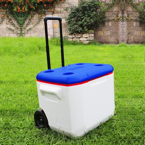 hielera 60 qts con ruedas blanca con azul coleman 3000003555