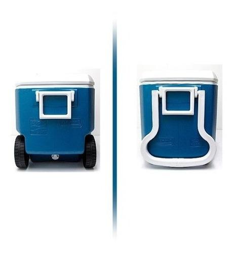 hielera cava xtreme con ruedas de 62 qt azul camping coleman
