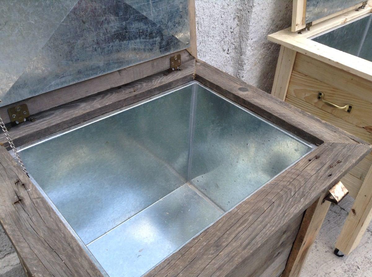 Hielera de madera reciclada lamina galvanizada 3 100 for Bar con madera reciclada