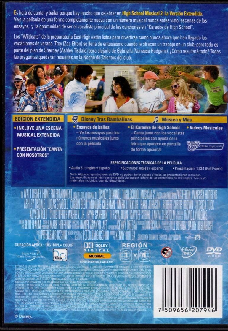 High School Musical 2 Ver Extendida / Zac Efron Dvd Original - $ 65 ...