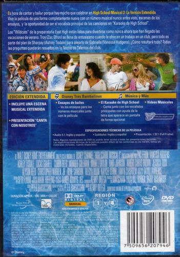 high school musical 2 versión extendida - dvd original nuevo