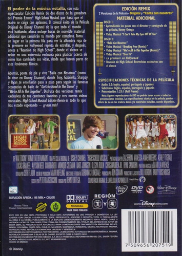 high school musical remix zac efron pelicula dvd
