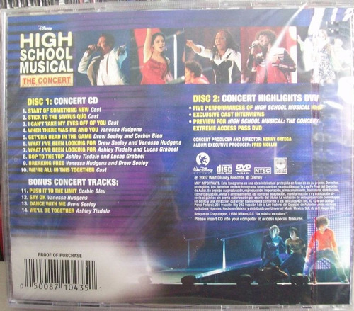 high school musicalthe concert cd y dvd made in mexico 1a ed