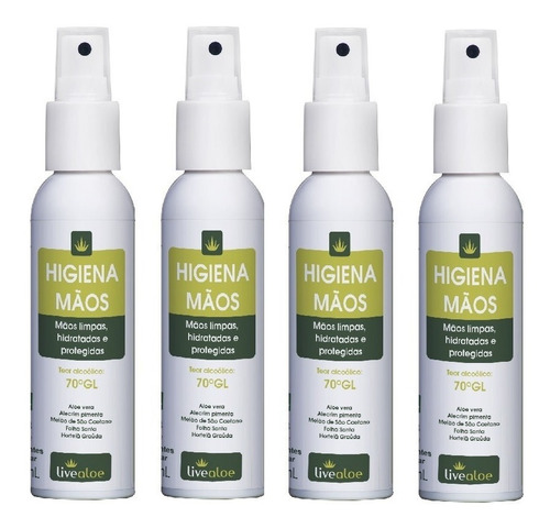 higiena alcool gel 70 com hidratante live aloe kit 4 unidade