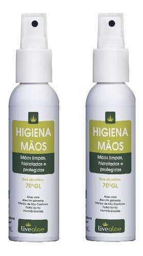 higiena alcool gel hidratante de bolso live aloe kit com 2