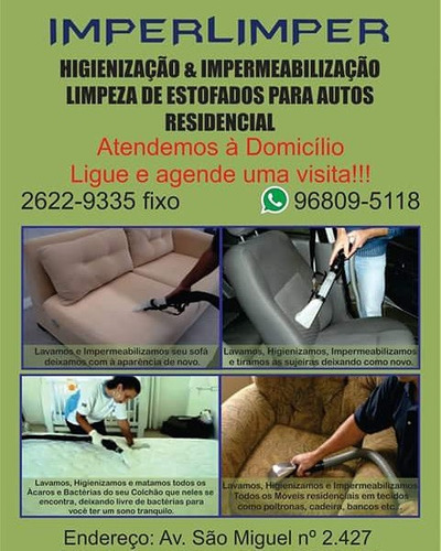 higienização lavagem impermeabilização sofá colchão tapete e