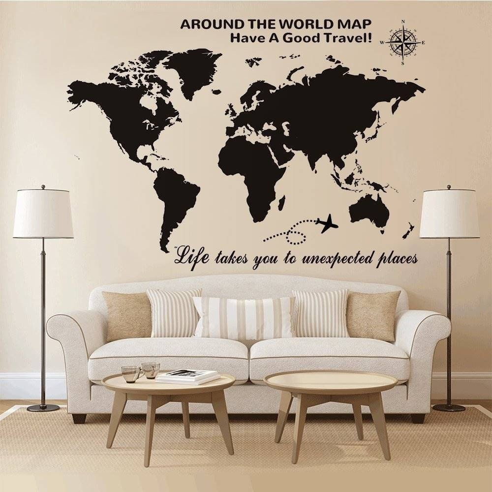 Higoss large world map wall decal with compas hogar 57647 en higoss large world map wall decal with compas hogar cargando zoom gumiabroncs Gallery