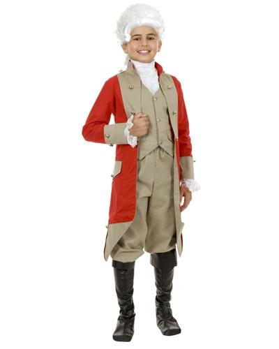 hijo de chicos británicos abrigo rojo chaqueta militar