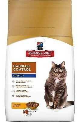 hill \ 's science diet hairball control cat food adult 7+ d