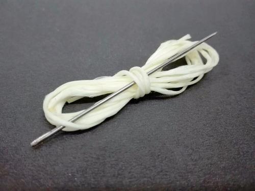 hilo coser aguja pack 10 un para pelota futbol negro blanco