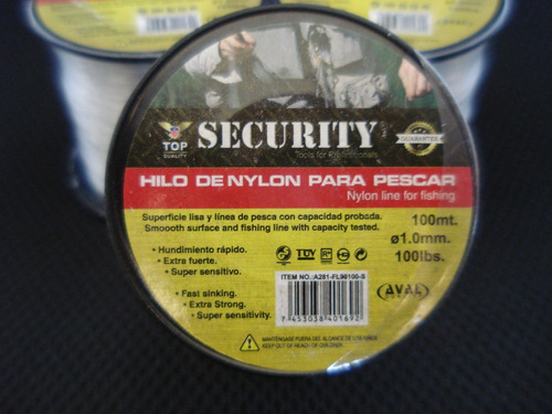 hilo de nylon para pescar 100lbs. top security.
