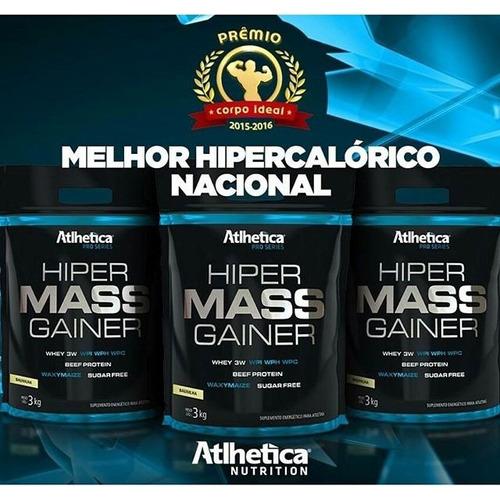 hipercalórico 3kg  baunilha + coqueteleira c/ mola atlhetica