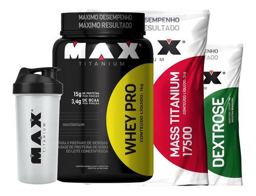 hipercalorico 3kg + whey pro 1kg + dextrose 1kg max titanium