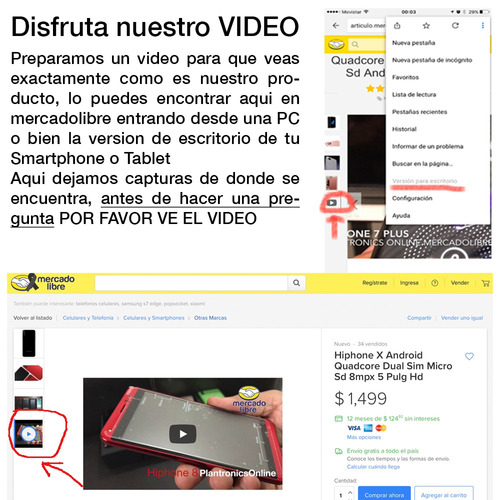hiphone 7 s plus android  quadcore doble chip expandible