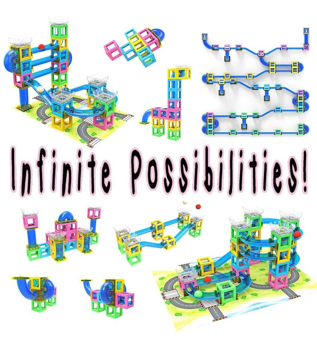 Hippococo Bloques de Construcci/ón Magn/éticos 3D: Circuito de Canicas Duradero Fomenta la Creatividad e Imaginaci/ón Robusto y Seguro Juguete Educativo Stem Innovador para Ni/ños y Ni/ñas 60 Piezas