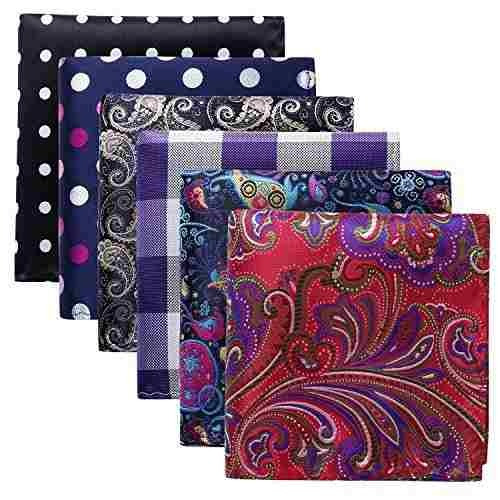 hisdern 6 piezas surtidos tejidas de bolsillo pañuelo