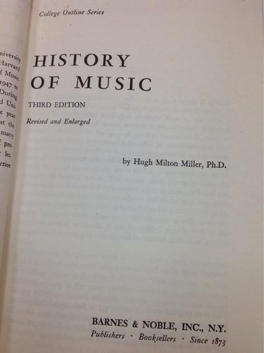 historia de la música (inglés) hugh m. miller