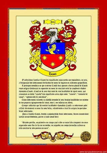 histórico do sobrenome com brasão - via  email