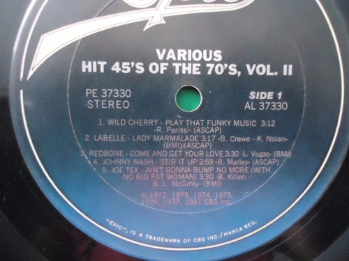 hit 45´s of the 70´s vol. ii / varios lp acetato g