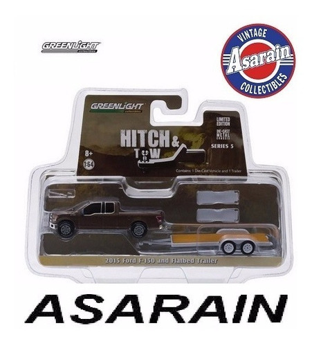hitch & tow 2015 ford f 150 flatbed trailer greenlight 1/64