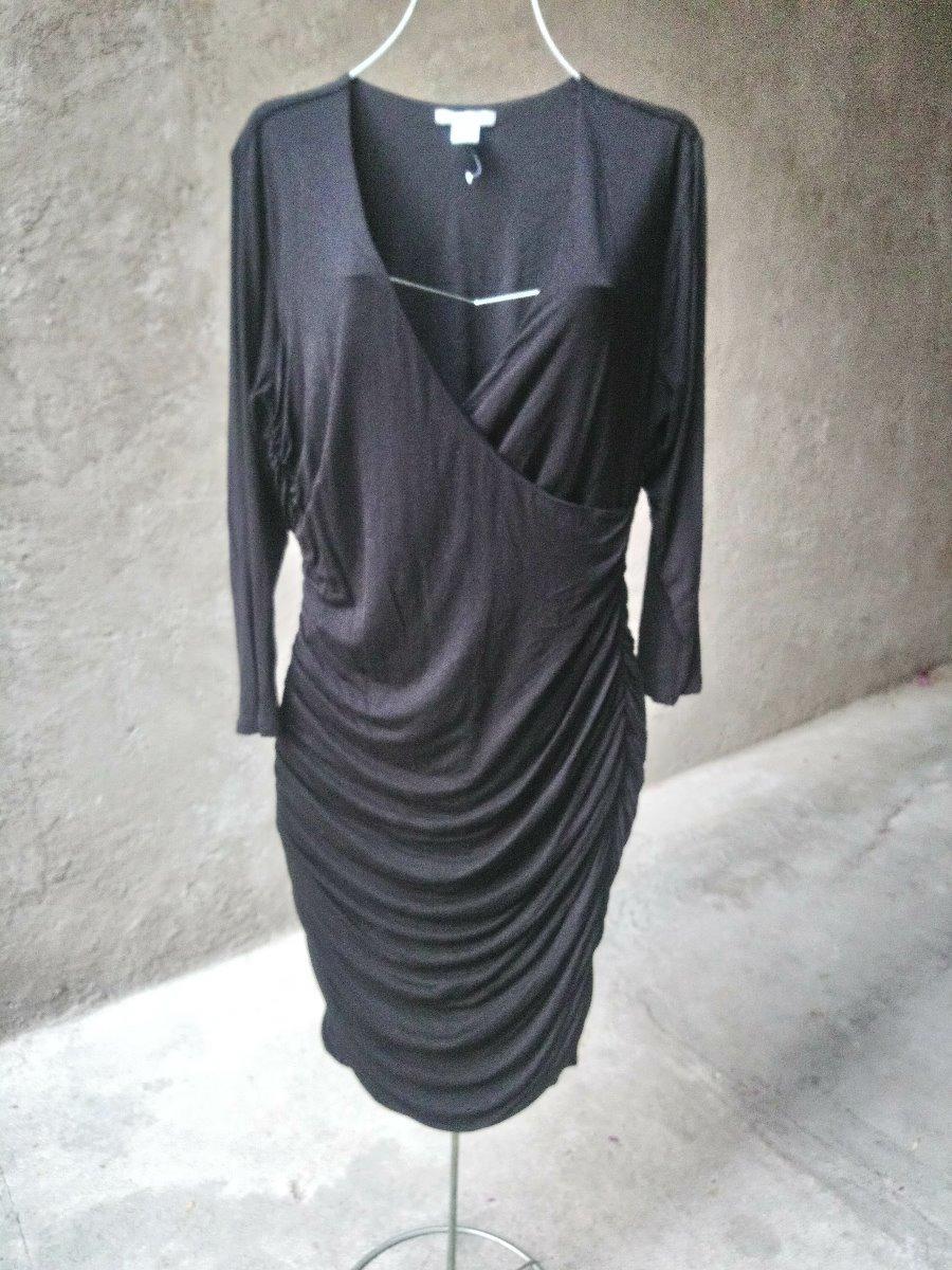 100% de satisfacción oficial de ventas calientes como encontrar H&m Vestido Drapeado Negro Manga Larga G Grande Midi