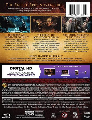 hobbit trilogia importada boxset peliculas blu-ray + dvd