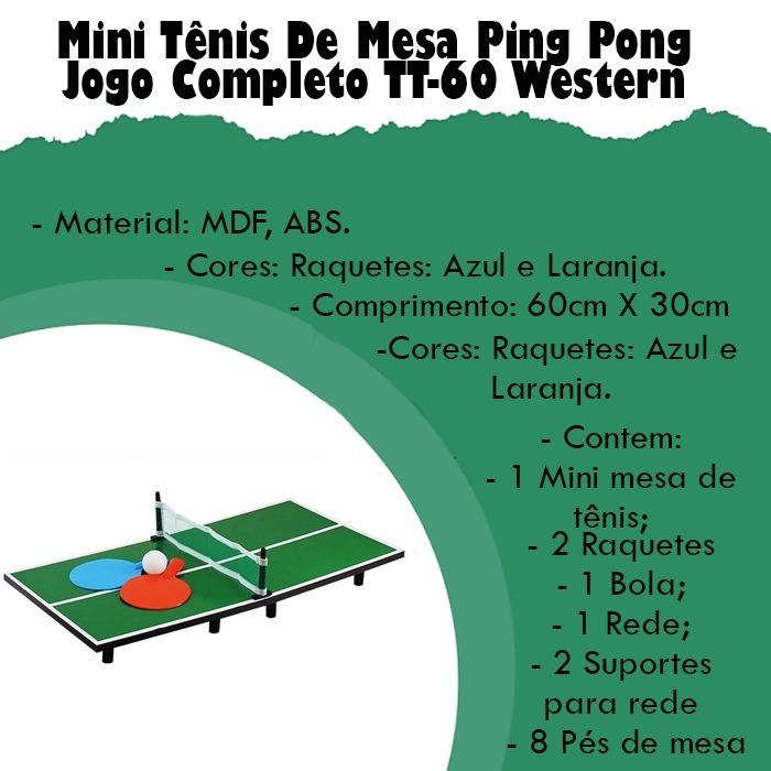 97fcf484c5c0d Hobby Mini Tenis Mesa Ping Pong Jogo 2 Raquetes 1 Mesa Kit - R$ 37,03 em  Mercado Livre