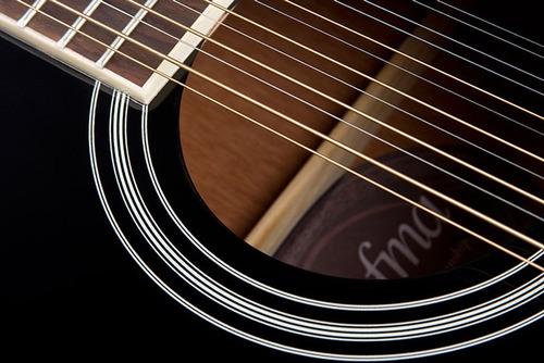 hofma he215e12 violão folk 12 c aço el. black