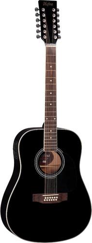 hofma he215e12 violão folk 12 c aço el. black - frete grátis