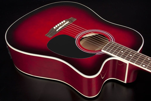hofma ye220 violão folk cutway aço red burst