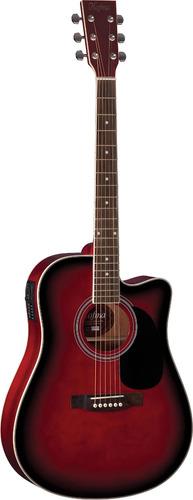 hofma ye220 violão folk cutway aço red burst - frete grátis