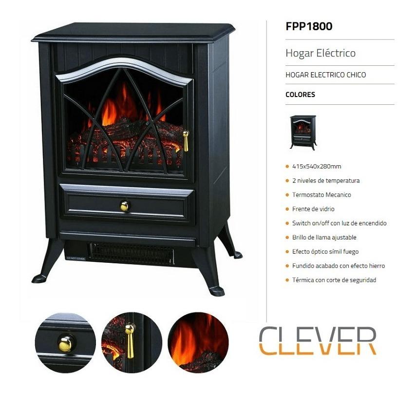 Hogar Electrico Clever Fpp1800 Termostato Vidrio Simil Fuego