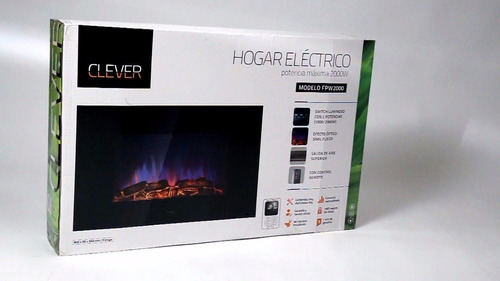 hogar electrico clever fpw2000 para pared fuego real led