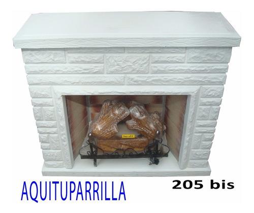 hogar esquinero piedra s/madera c/ leños refractarios 5000